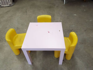Ikea Pink Table & 3 Little Tykes Chairs  REDUCED