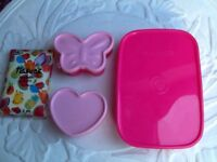 💗🍍🍱little pink lunch box and 2 smaller containers and napkins