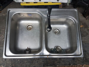 Double Sink with Faucet (Stainless Steel)