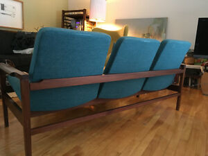 canapé teck vintage mid century teak sofa