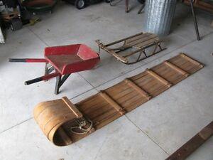 Sled, toboggan, wheelbarrow