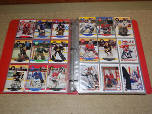 OVER 450 VARIOUS NHL HOCKEY GOALIE CARDS WITH BINDER & SHEETS