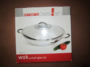 "38 cm , 15"",  18/10 Stainless Steel Wok with Half Glass Lid"