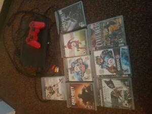 PS3 with Controller, Cords and 9 Games