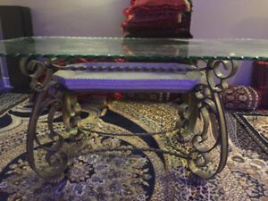Glass dining table for six