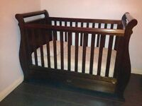 Boori Sleigh 3 in 1 Cotbed with Drawer in English Oak