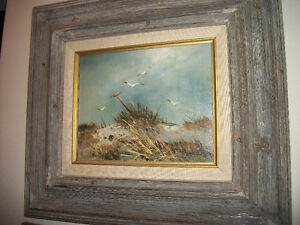 Original Painting in Large Rustic Barnwood frame