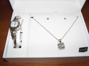 Watch/Earrings/Necklace Set, Silver Colour, by L. & Co.
