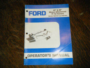 "Ford 42"" & 48"" Mower Attachment YT 16 Tractors Operators Manual"