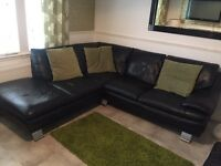 Black leather corner unit, chair & pouffee