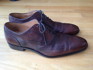 Men's Rich Brown Leather Dress Shoes - Made in Italy Size 11 1/2