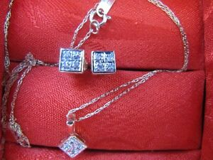 Diamond stud earrings and matching necklace