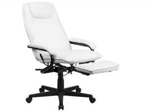 NEW! White Executive reclining PU leather office chair foot rest