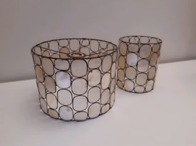 Two mother of pearl light/lamp shades
