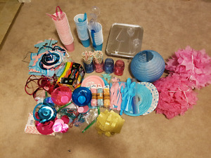 Gender reveal supplies and decorations