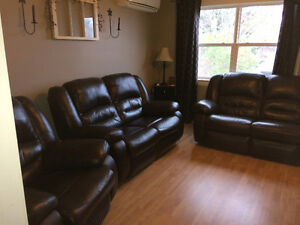 3 Piece Brown Leather Reclining Sofa Set