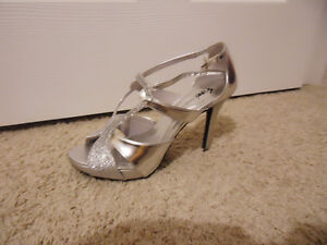 Like-New Sparkly Silver High Heels