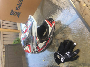 Dirt bike helmets and gloves