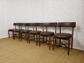 Six vintage mid century teak G Plan Victor Wilkins dining chairs