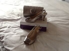 Lotus pewter sling back heeled shoes with matching bag worn once