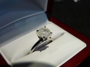 1.56 Ct 14K White Gold Diamond Solitaire H Color I3 Clarity