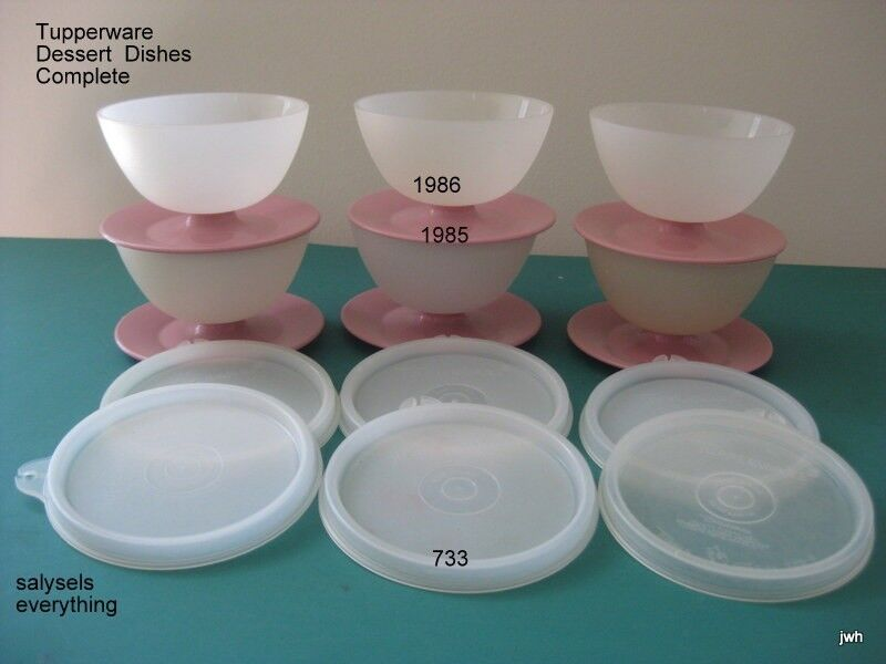 Tupperware~Dessert dishes #1986~Pink Base #1985~Seals #733 (H)~(6)~Preowned~VGUC