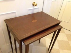 Beautiful Antique Solid Mahogany Nesting Tables, quality piece