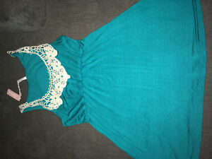 Teal shirt with crochet trim