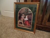 "~Very Nice Victorian Framed Picture ""LITTLE GIRL WITH HER DOG""~"