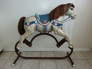 Metal Hobby Horse - Leather Saddle & Bridle - Nicely Detailed