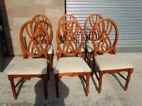 Set of six 6 dining chairs solid wood