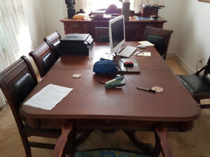 Antique Table, 7 Chairs and Buffet