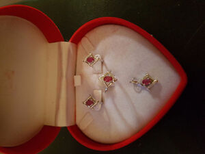 Beautiful four piece ruby jewelry set