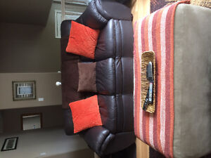 Genuine leather chocolate brown couch