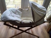 Cream Mamas and papas Moses basket and stand