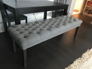 Grey tufted bench perfect for any room!
