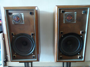 The Large Advent Loudspeakers In Walnut Cabinets