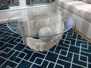 Glass, marbel, stone round coffee table