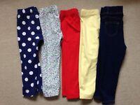 5 x pairs of leggings girls 18-24 months