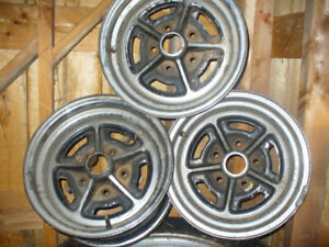 3 rally wheels. Chrome. 1960s to 1980s. GM five bolt 14 inch