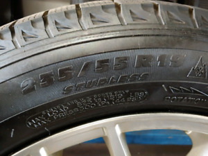 """4 19"""" Alloy rims with Michelin X-Ice tires"""