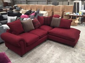 Brand new red corner sofa with tartan scatter cushions