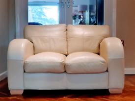 DELIVERY INCLUDED VGC retro 2 seater genuine soft cream leather sofa