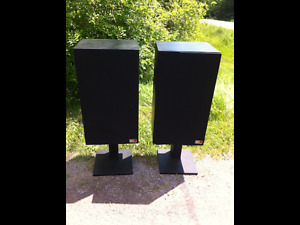 Black speakers and stands