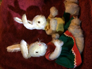 Mohair stuffed squeaking rabbits