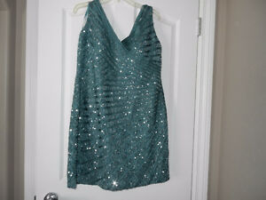 designer mary queen couture TEAL DRESS- NEVER WORN !