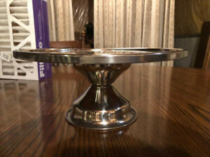 S/S trays, cake stand and covered vegetable bowl