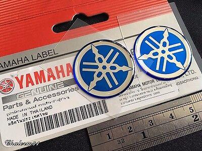 Blue 30 Mm 2X Yamaha Genuine 100  Tuning Fork Logo Sticker Emblem Decal
