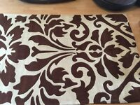 """Extra Large Brown and Cream floral Rug 94"""" x 60"""""""