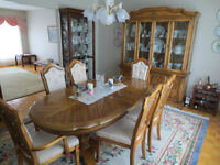 STANLEY All Wood Dining Room Set with Buffet & Hutch(negotiable)